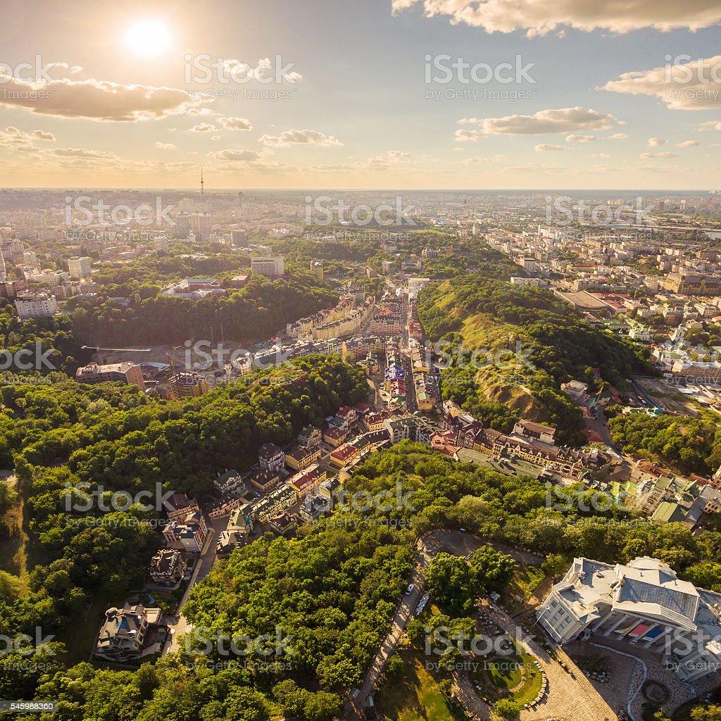 Kiev City skyline aerial view. Vozdvizhenka.Ukraine stock photo