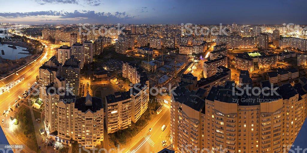 Kiev panorama at night stock photo