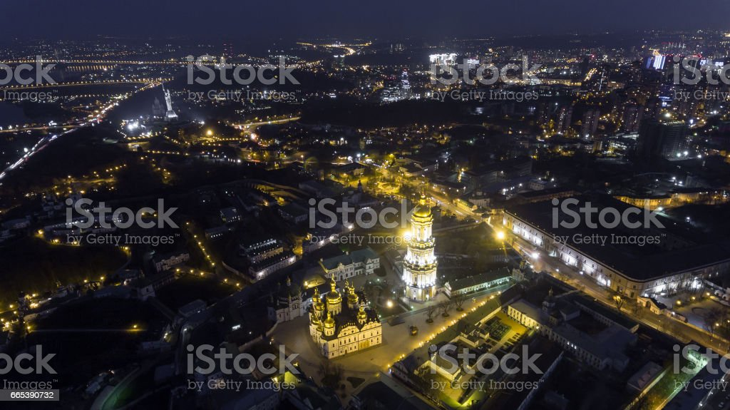 Kiev Pechersk Lavra church view from the height, Kiev, Ukraine. stock photo