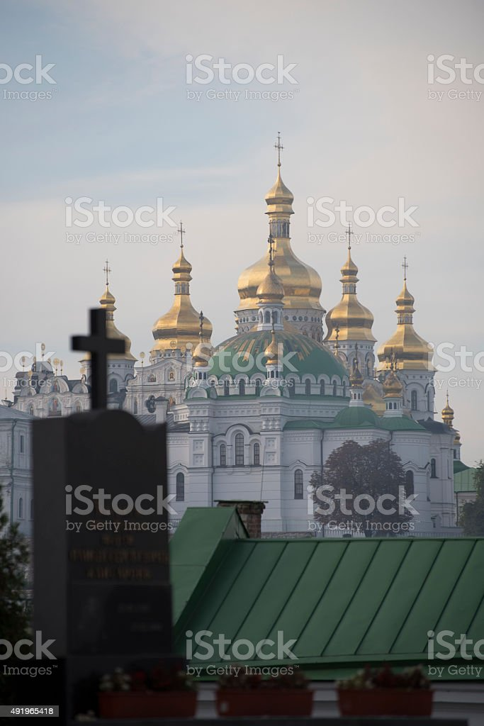Kiev Pechersk Lavra churches in Ukraine stock photo