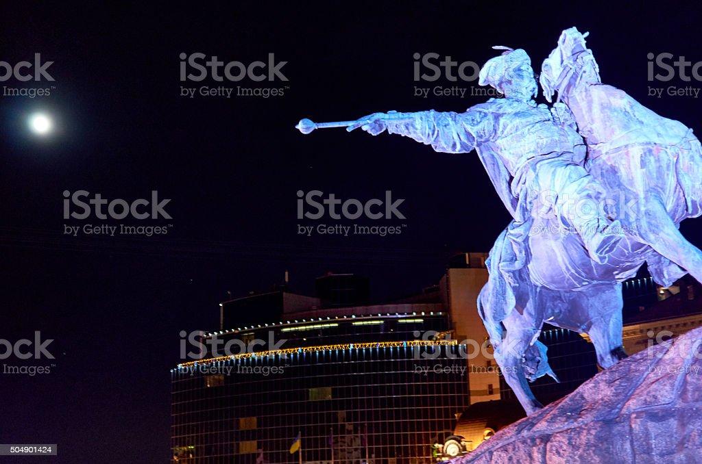Kiev, Ukraine. Monument to Bogdan Khmelnitsky at night stock photo
