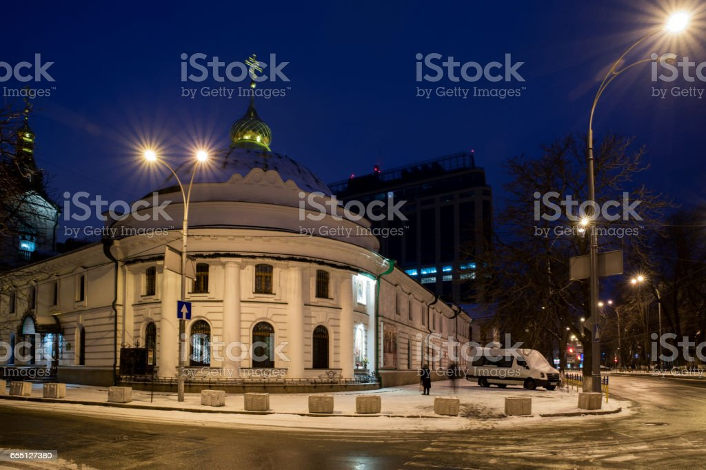Kiev Vvedensky monastery in winter stock photo