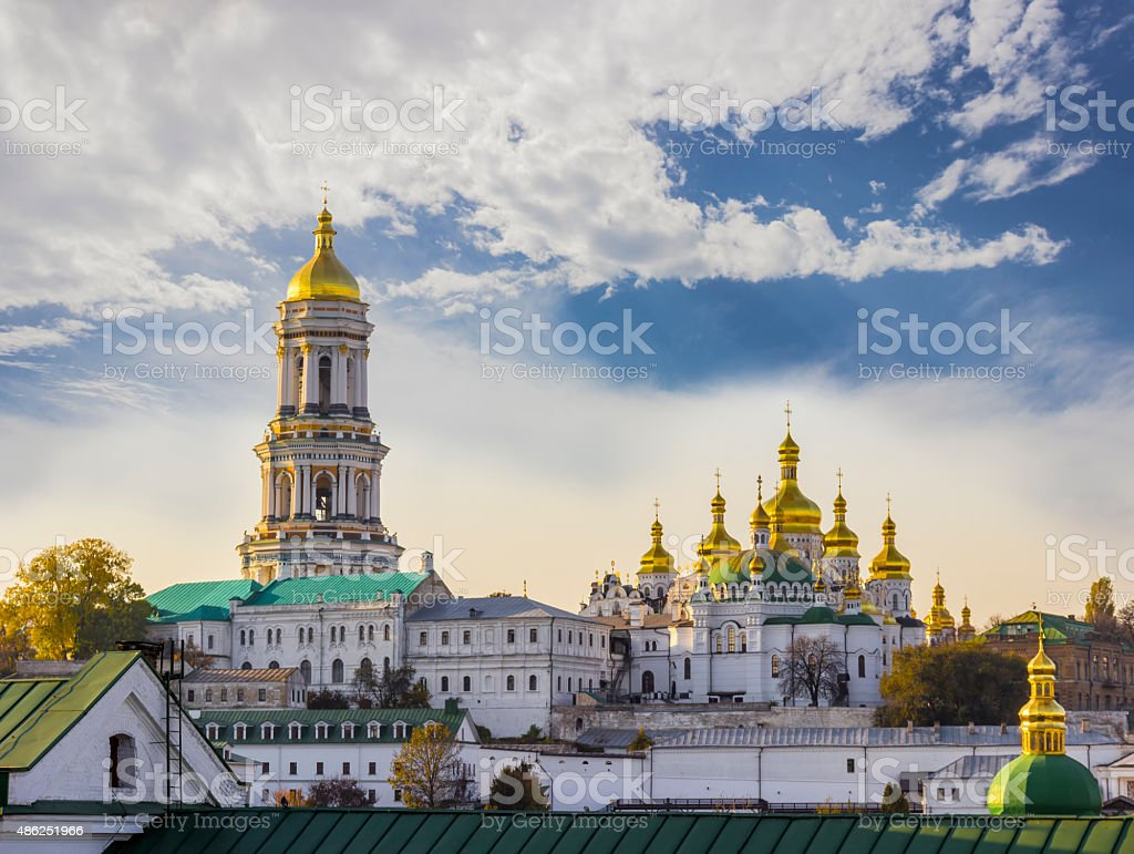 Kiev-Pechersk Lavra against the sky with clouds autumn stock photo