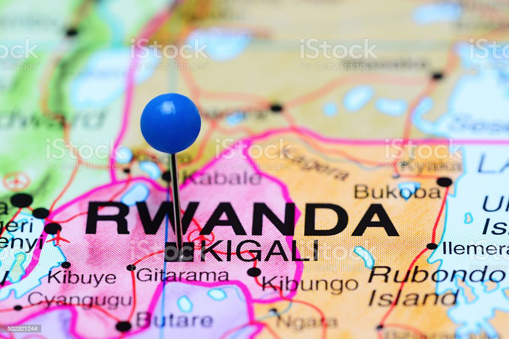 Kigali pinned on a map of Africa stock photo