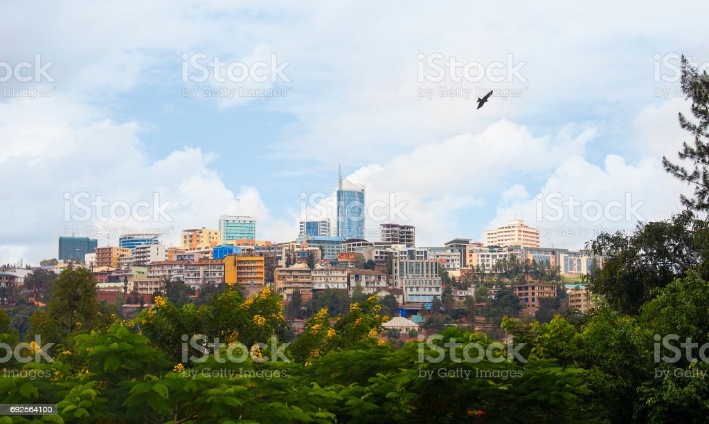 Kigali skyline of Business district, Rwanda stock photo