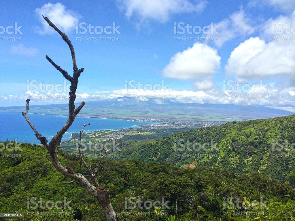 Kihei and the West Maui mountains stock photo