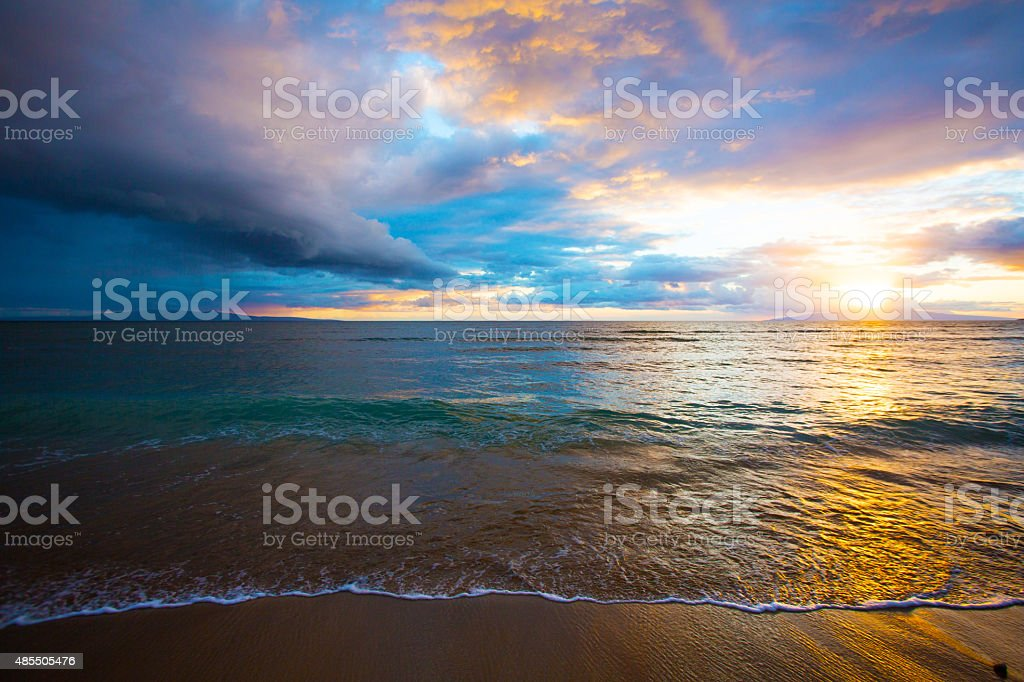 Kihei Beach Sunrise stock photo