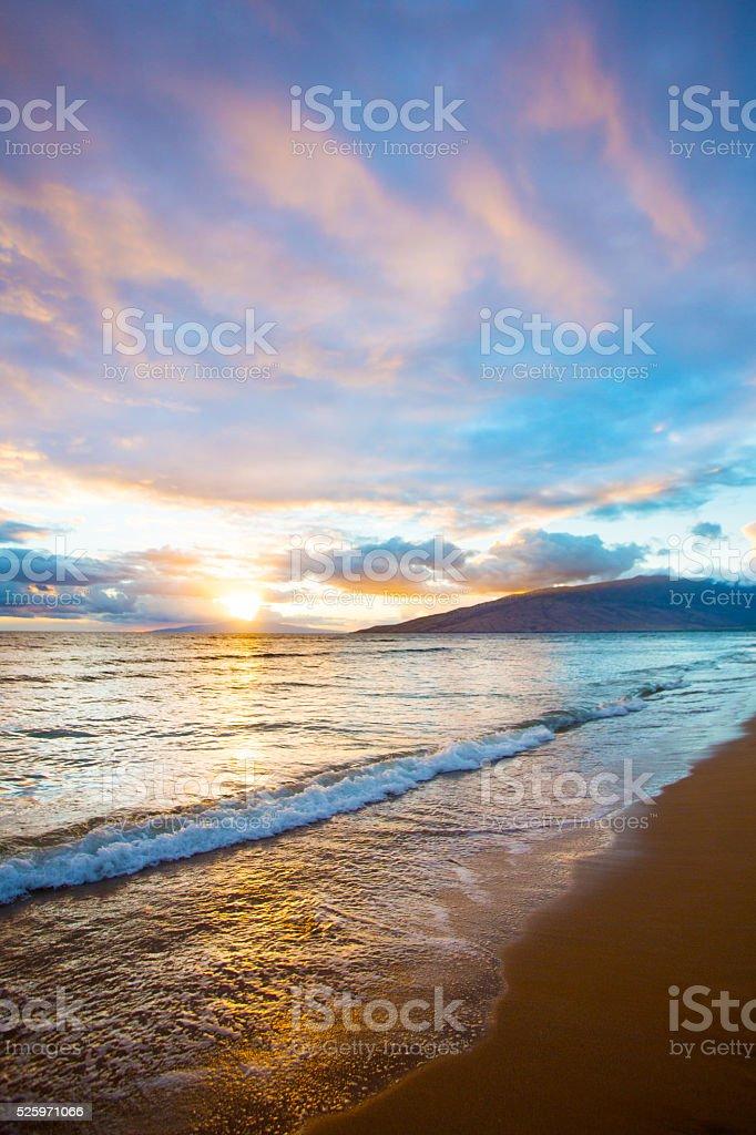 Kihei Sunset on Beach stock photo