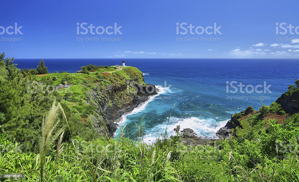 Kilauea Historical Lighthouse Kauai Island Hawaii stock photo