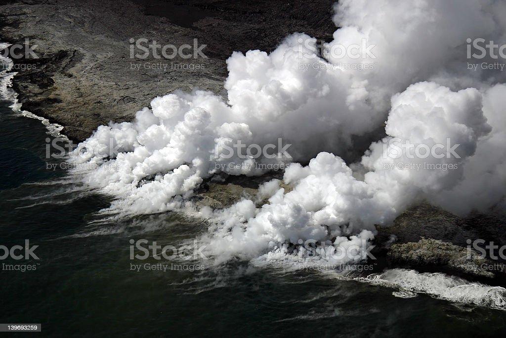 Kilauea Lava Flow Enters Ocean royalty-free stock photo