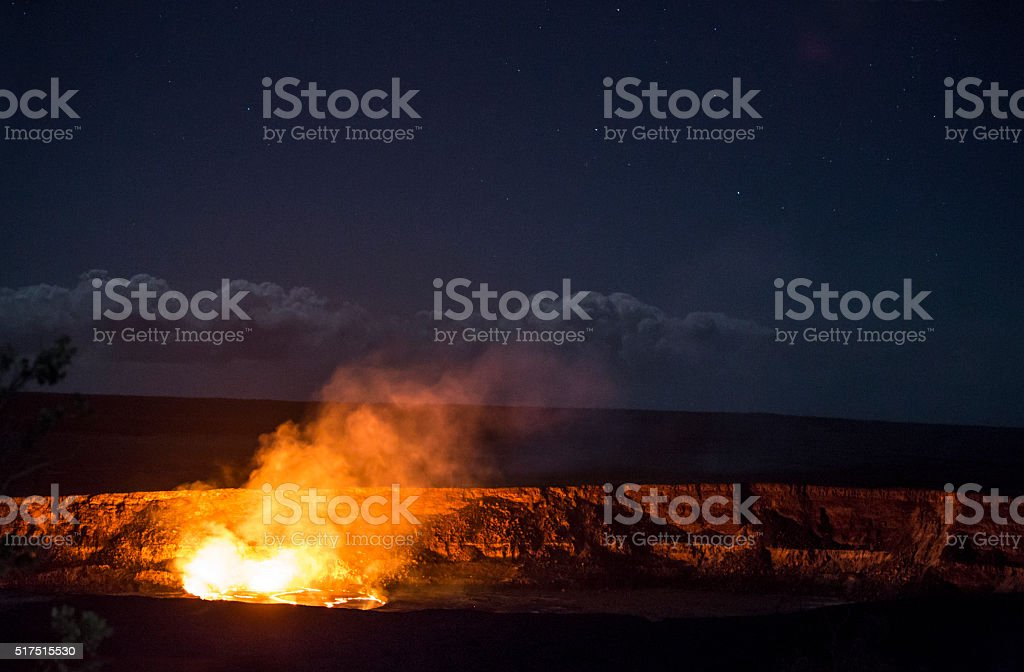 Kilauea Lava Lake Eruption Under a Starry Sky stock photo