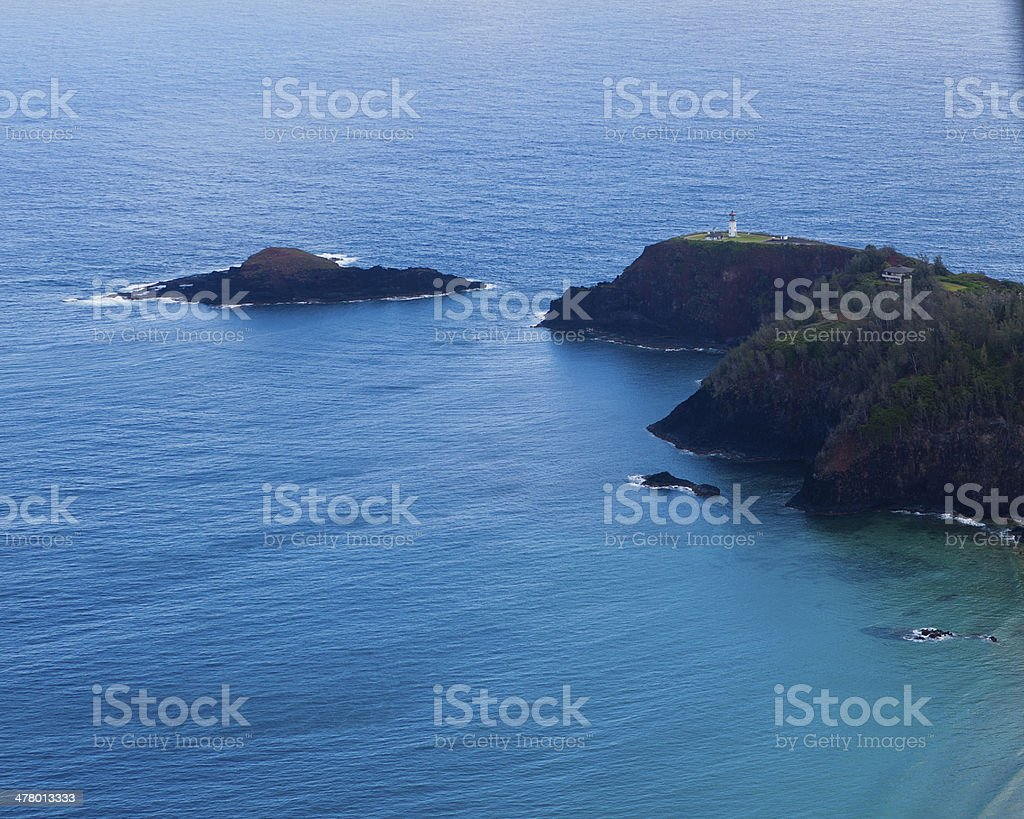 Kilauea Light house Aerial Wide stock photo