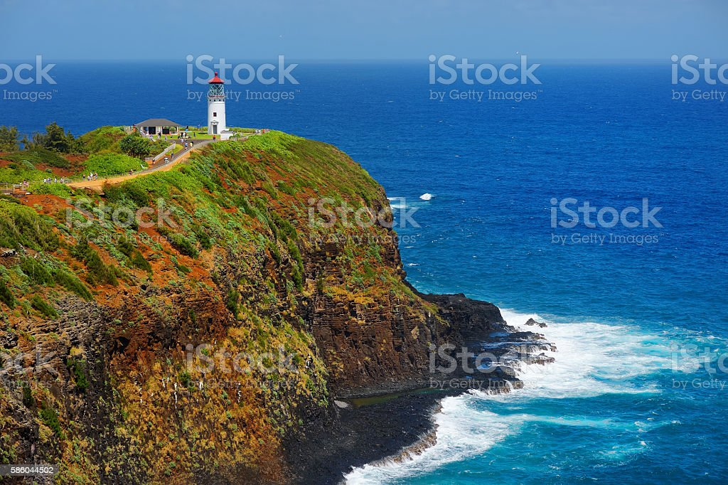 Kilauea lighthouse bay on a sunny day in Kauai stock photo