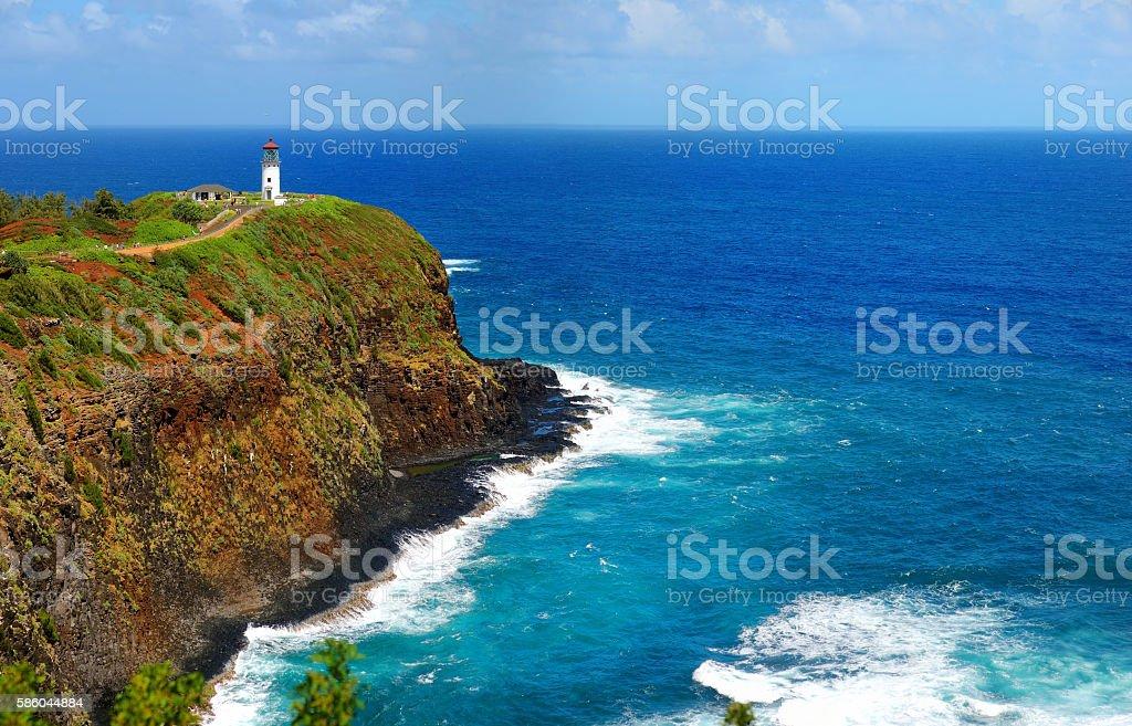 Kilauea lighthouse bay on a sunny day in Kauai stock photo