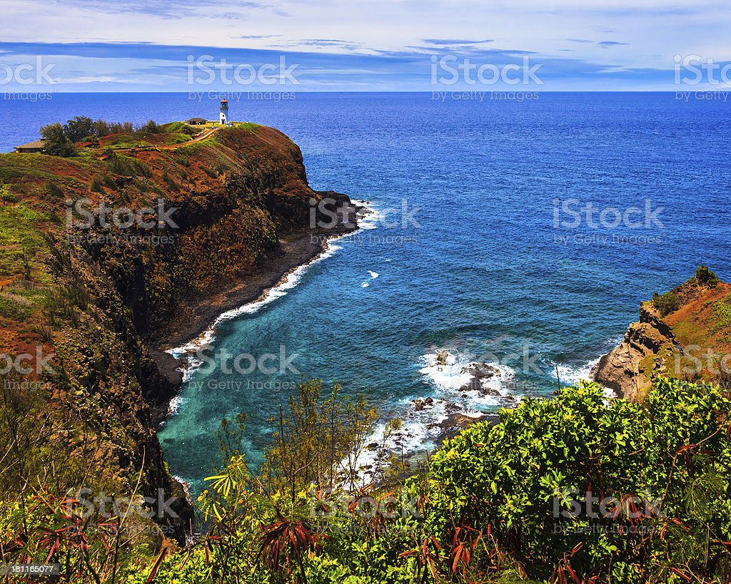 Kilauea Lighthouse Bay stock photo