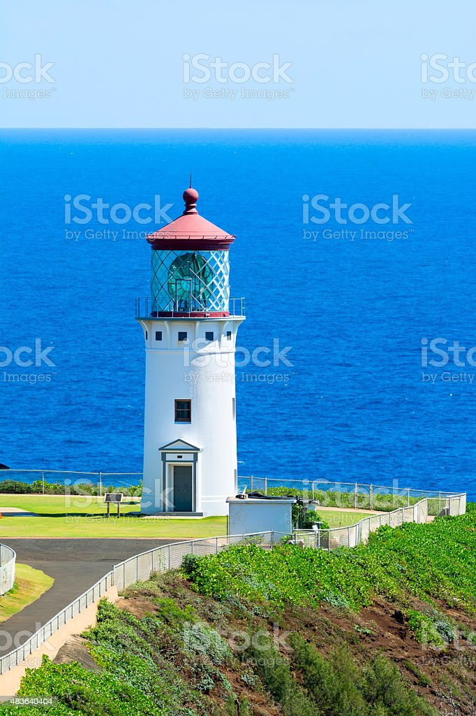 Kilauea lighthouse in Hawaii stock photo
