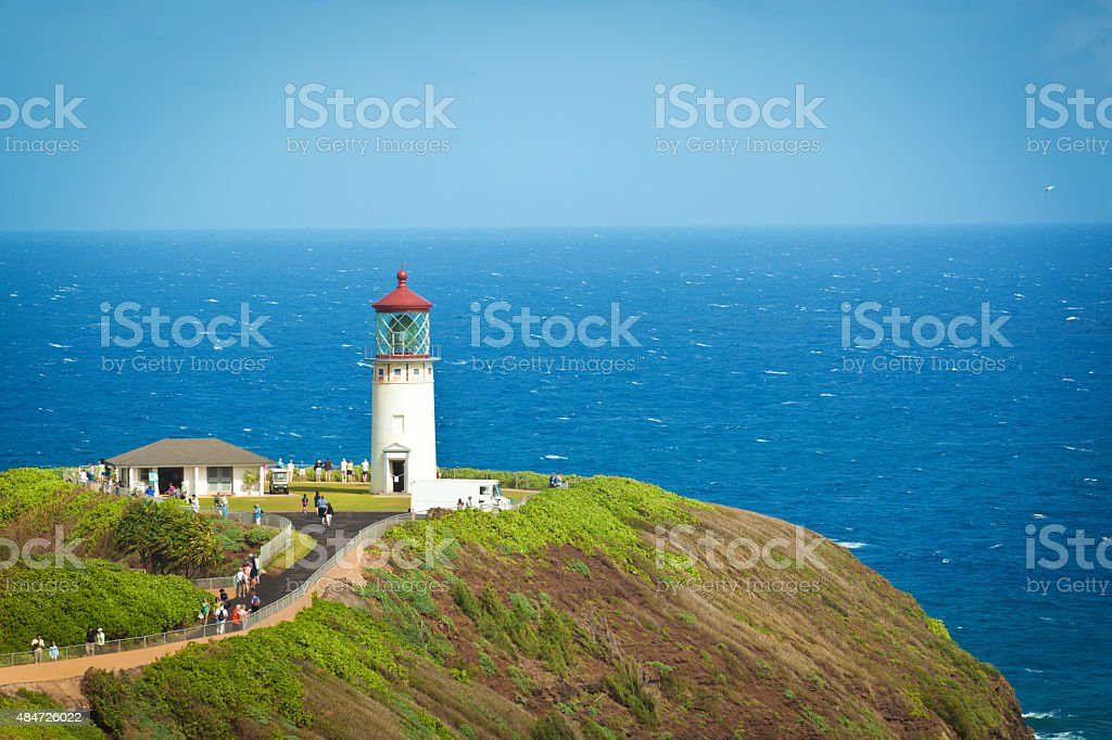 Kilauea Lighthouse in Kauai Hawaii stock photo