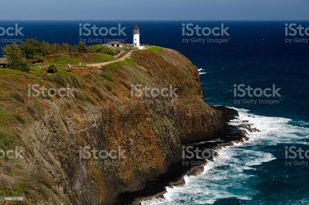 Kilauea lighthouse on a sunny day stock photo