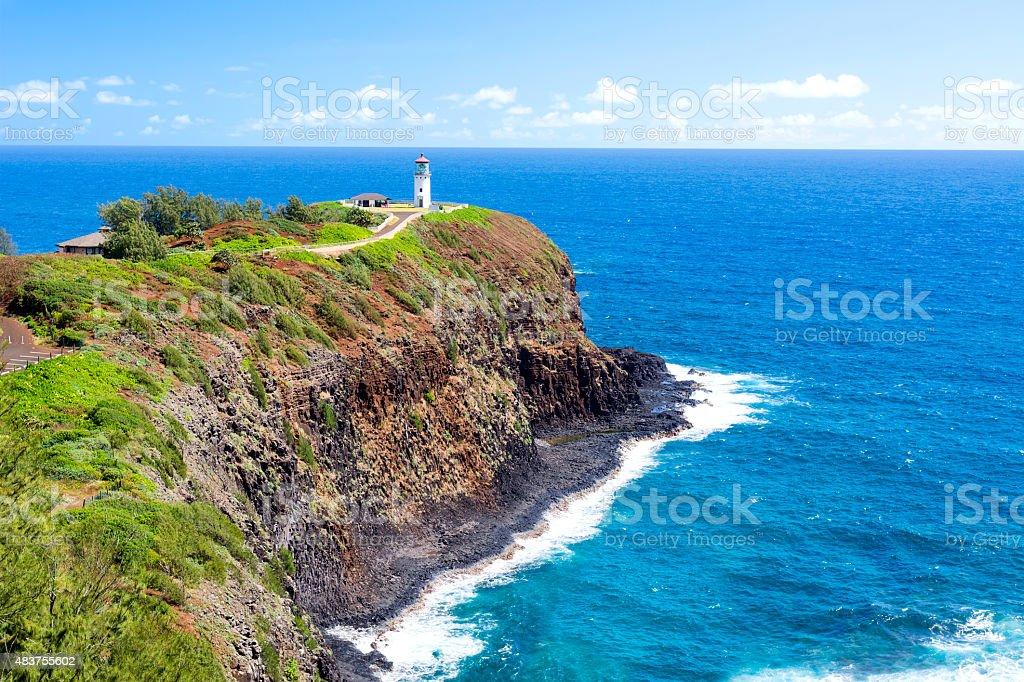 Kilauea lighthouse on Hawaii stock photo