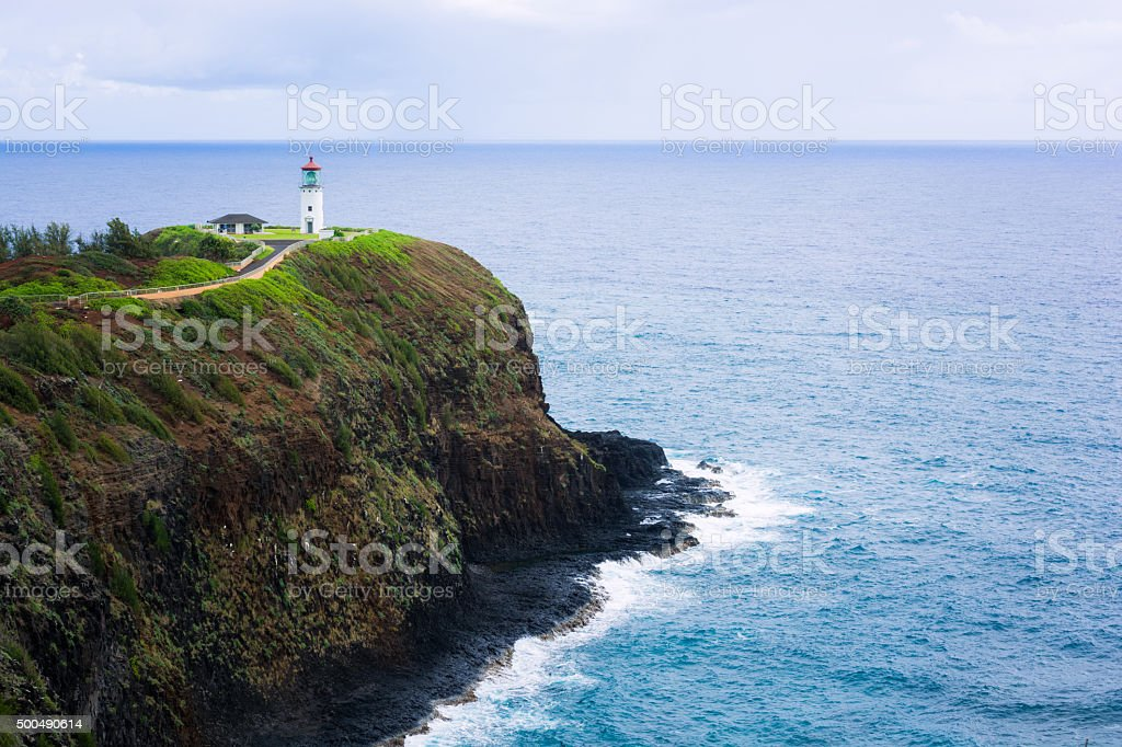 Kilauea Lighthouse on island of Kauai with Pacific Ocean stock photo