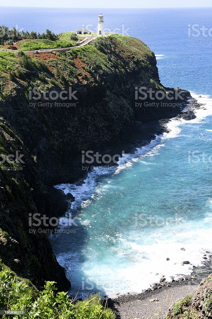 Kilauea Lighthouse on Kauai, Hawaii with ocean stock photo