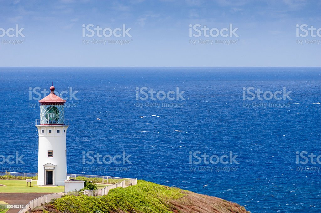 Kilauea Lighthouse overlooking the Pacific Ocean in Kauai, Hawaii stock photo