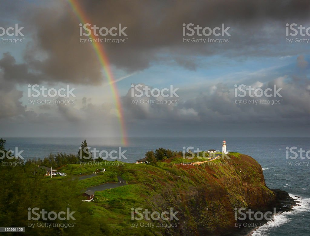 Kilauea lighthouse with a rainbow stock photo