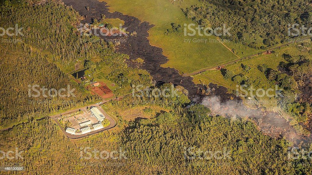 Kilauea Threatens Hawaii Homes stock photo