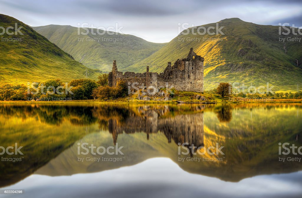 Kilchurn sunset stock photo