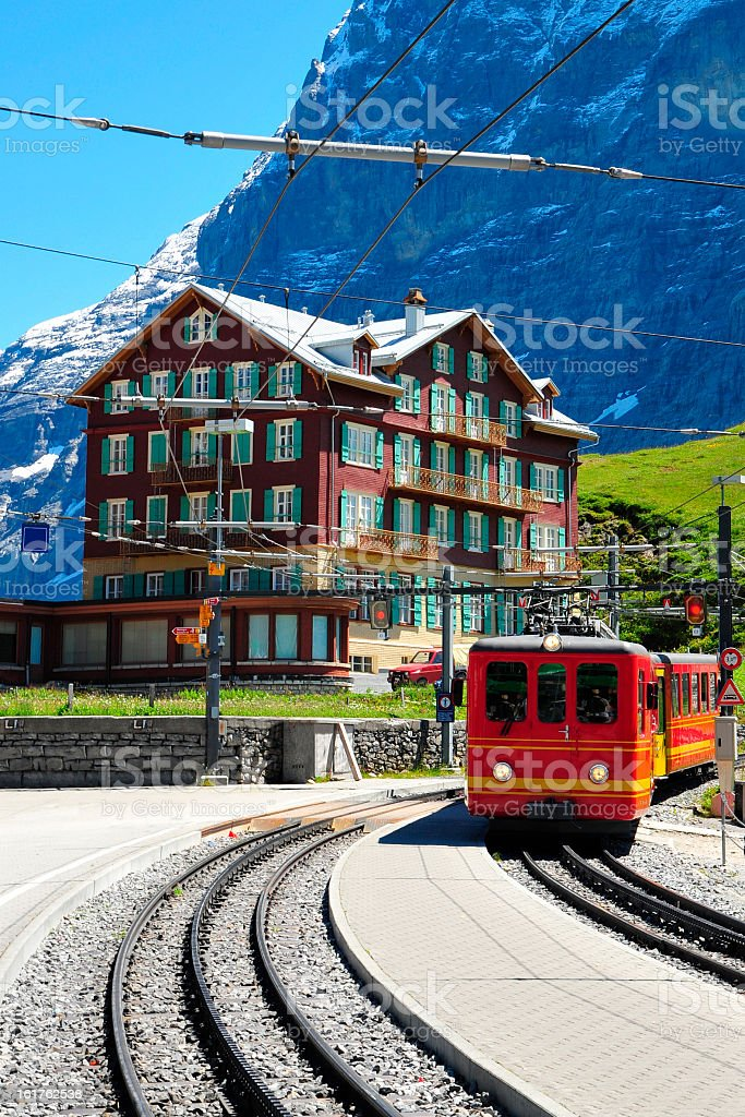 KIleine Scheidegg Station and Hotel, Switzerland stock photo