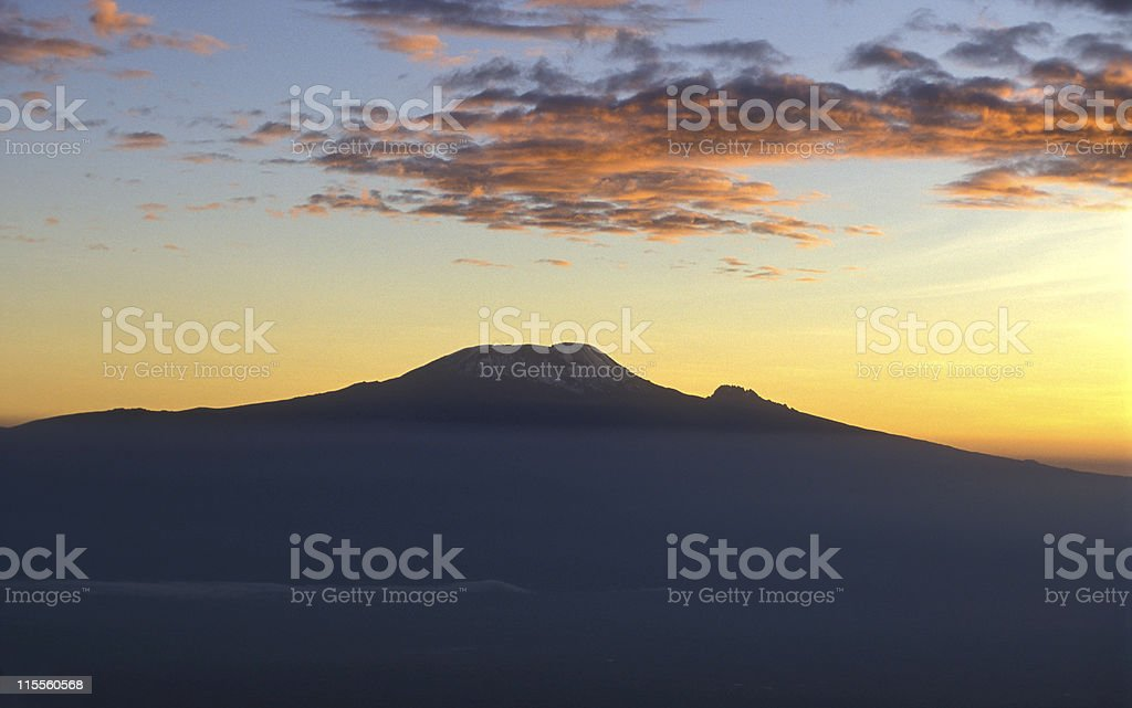 Kilimanjaro, Africas highest mountain at sunset (2) stock photo
