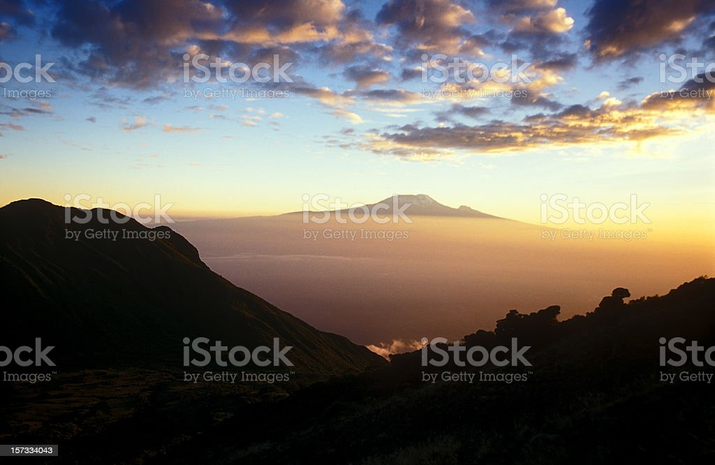 Kilimanjaro, Africas highest mountain at sunset stock photo
