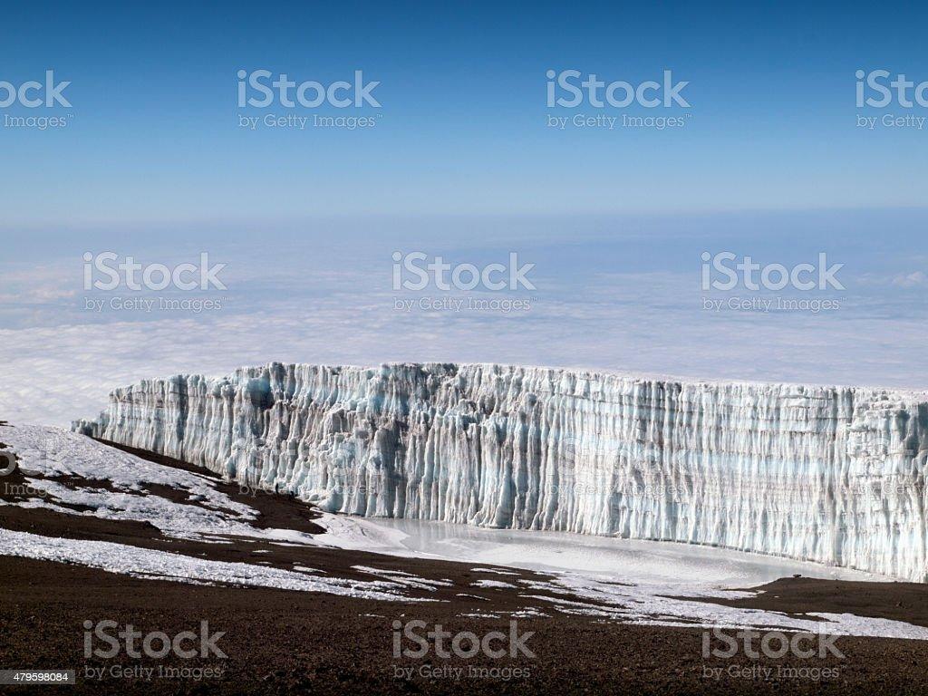 Kilimanjaro disappearing glacier - Uhuru Peak, 5895 m stock photo