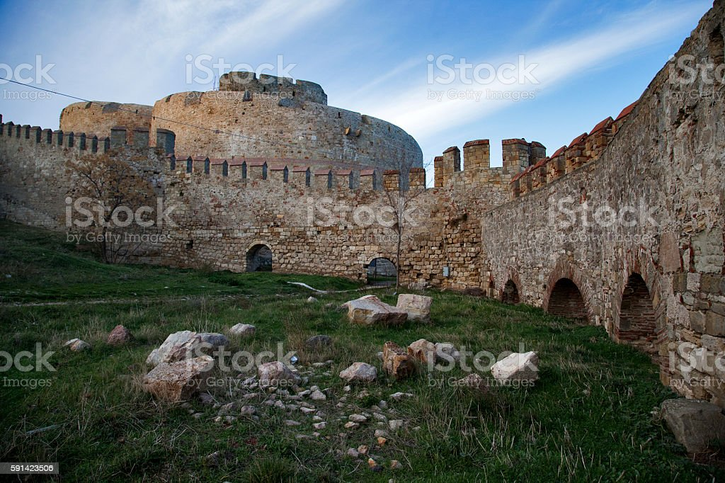 Kilitbahir Castle and the city walls stock photo