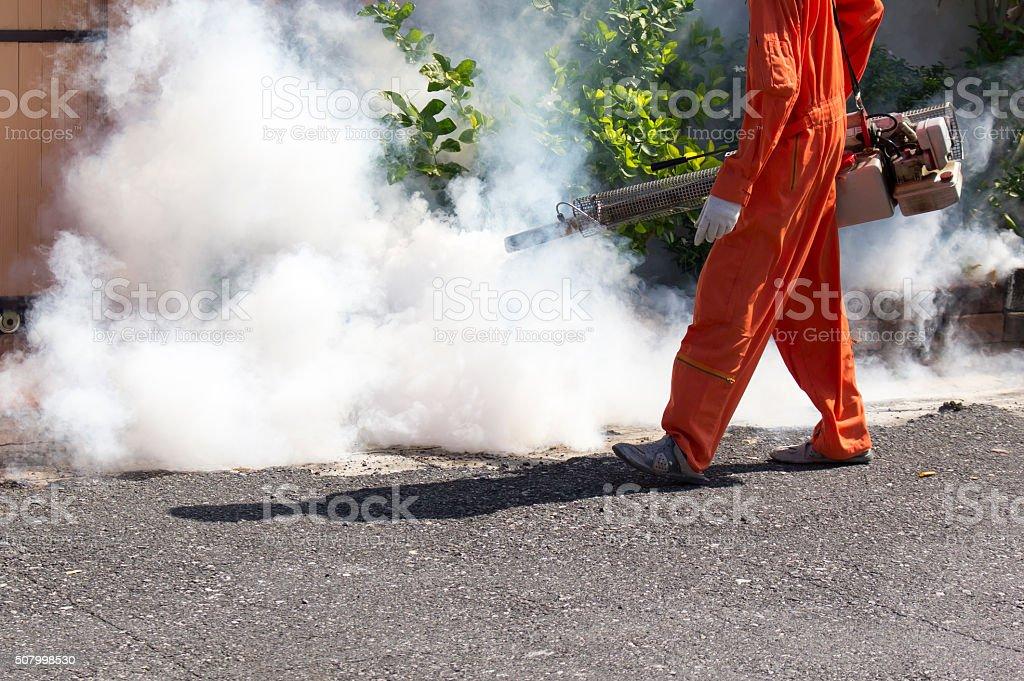 kill mosquito with fogging stock photo