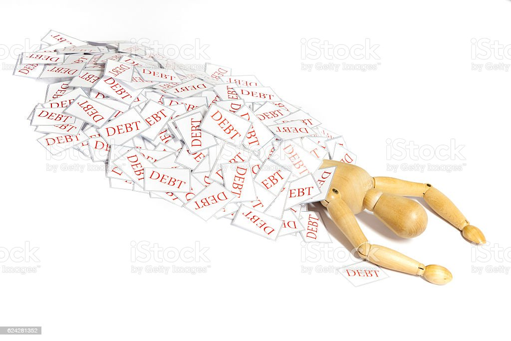 Killed by debt stock photo