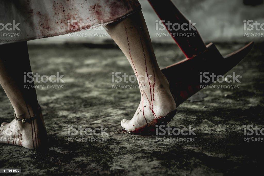 Killer or Zombie woman. stock photo