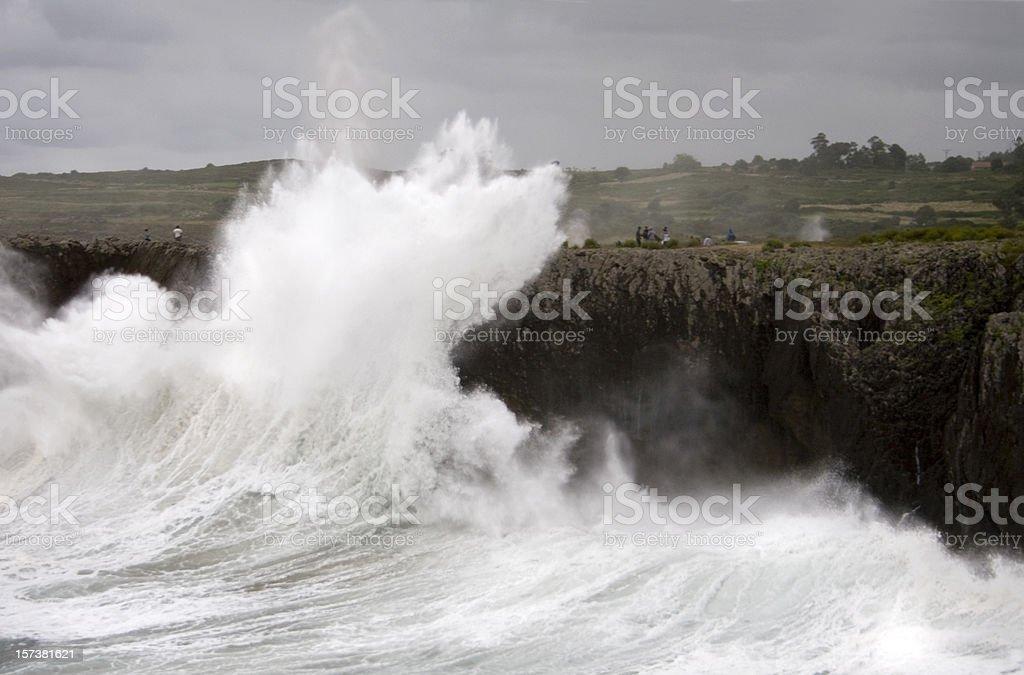 Killer Wave at Guadamia, Asturias, Spain. stock photo