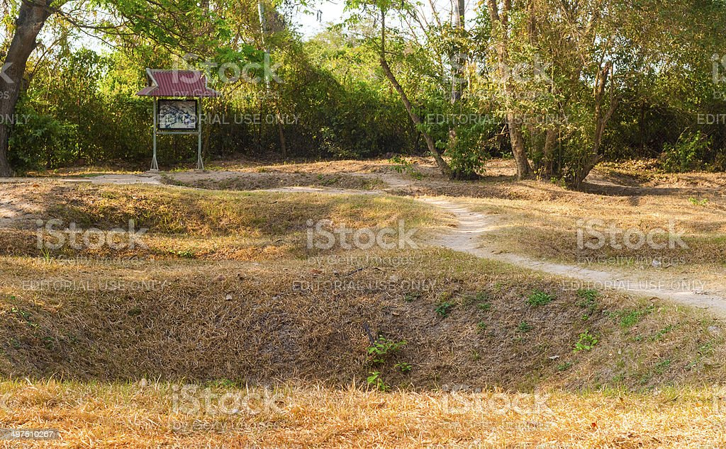 Killing Fields graves stock photo