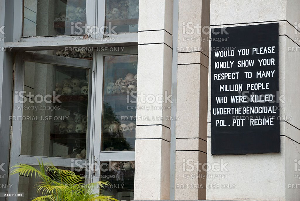 Killing Fields memorial in Cambodia stock photo