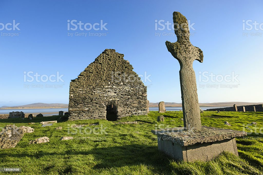 Kilnave Cross and Chapel, Islay stock photo