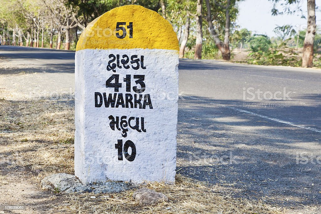 kilometers to Dwarka milestone royalty-free stock photo
