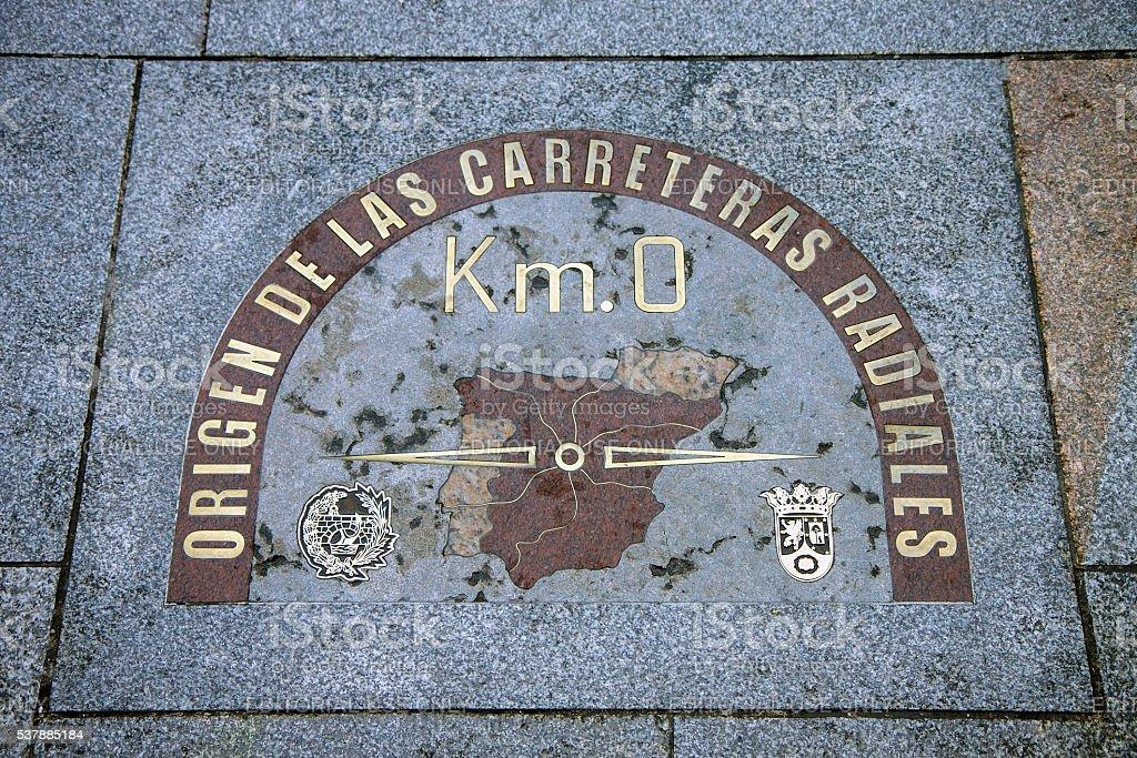 Kilometre zero sign in Madrid, Spain stock photo
