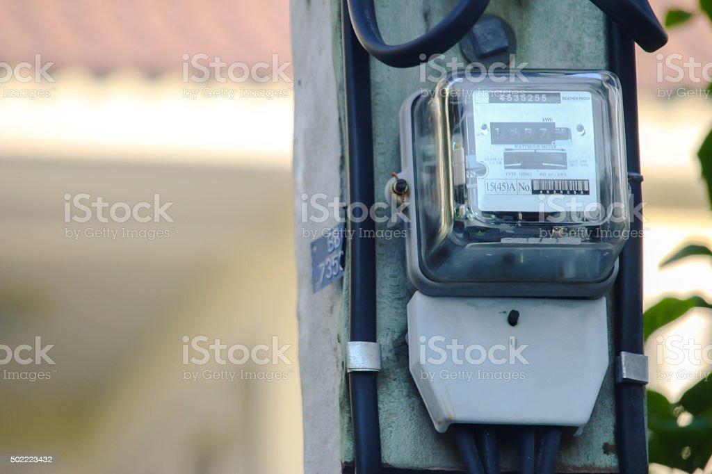 Kilowatt hour meter pole stock photo