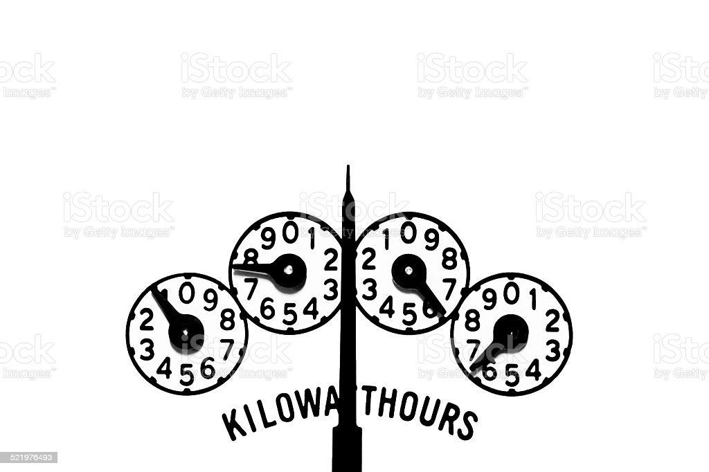 Kilowatt-hour and demand meter register dials with power indicator needle stock photo