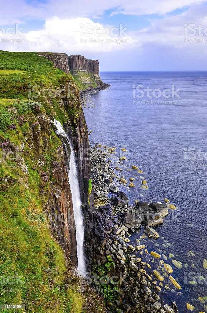 Kilt rock coastline cliff in Scottish highlands royalty-free stock photo