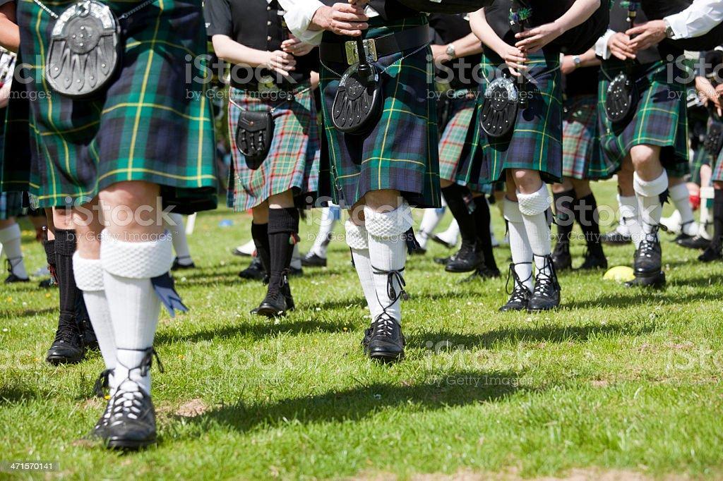 Kilts and Sporrans at the Highland Games, Scotland stock photo