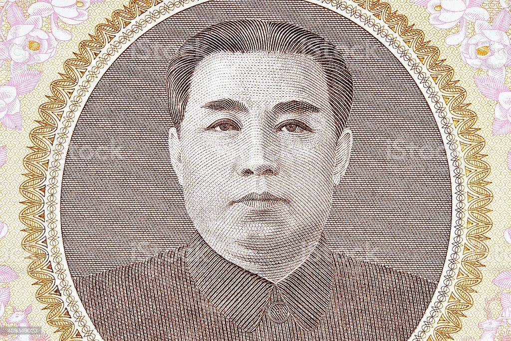 Kim Li Sung on Banknote royalty-free stock photo