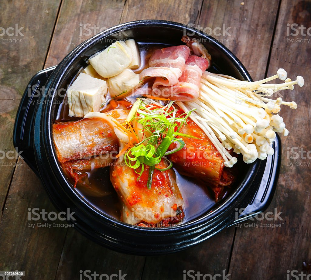 Kimchi Stew with beef and enokitake stock photo