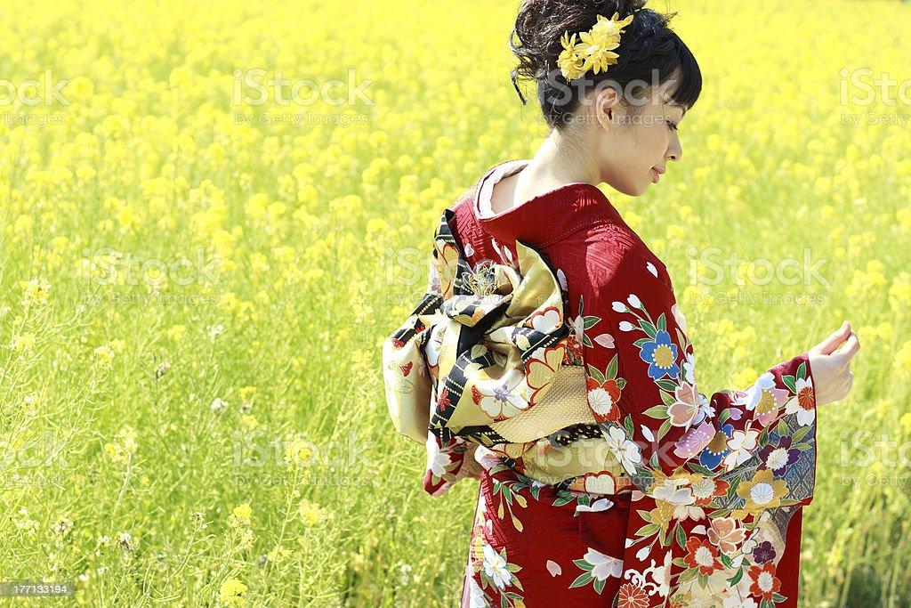Kimono Woman in Canola Field stock photo